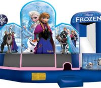 NEW! Frozen 5-in-1 Combo - Five activities:  Bounce Area, Obstacles, Slide, Climb, and a basketball hoop with mini basketballs for 5 fun activities in one great inflatable!  Brand new and very popular!