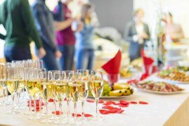 Drinks and Food at a Succeesful Corporate Event